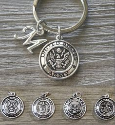 Army Keychain, Personalized, Navy Keychain, Air Force Keychain, Marine Corps Keychain, Military Boyfriend, Army Gifts for Men, Custom Letter