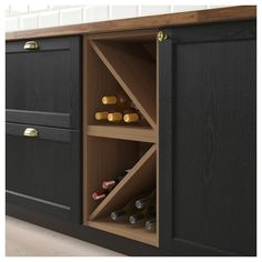 VADHOLMA Wine shelf, brown, stained ash For Dining room buffet table? Open Kitchen Cabinets, Wine Cabinets, Kitchen Shelves, Kitchen Storage, Wine Cabinet Ikea, Wine Shelves, Wine Storage, Kitchen Hacks, New Kitchen