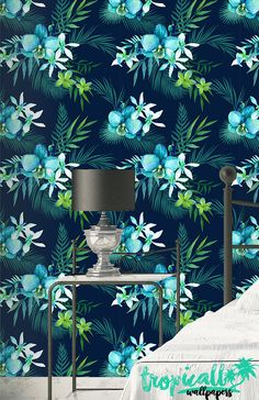 Tropical Flower Hawaii Pattern Wallpaper - Removable Wallpaper - Floral Palm Leaves Wallpaper - Exotic Wall Sticker - Tropical Wallpaper