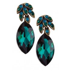 Olivia Welles Navette and Marquis Feather Earring - Emerald/Gold