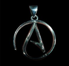 Stainless Steel Ladies Atheist Logo Pendant w/Chain - Free Shipping/In Stock #Handmade #Pendant
