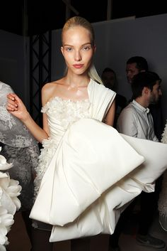 Sasha Luss backstage at Giambattista Valli Fall 2013 Haute Couture