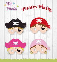 Pirates children Mask Printable for birthdays, Instant Digital Download, girls and boys, Yo Ho