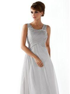 Vestidos princesa/ Formato A Decote redondo Chá comprimento Chiffon Vestido de baile com Pregueado Perolização (018005096) - JJsHouse