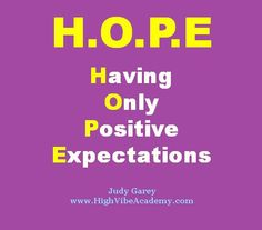Do you catch yourself feeling hopeless from time to time?  Whether you're feeling hopeLESS or hopeFUL, both includes the word HOPE. Yayyy!! :)  In this video, I share a wonderful acronym to support you in raising your vibes around having more HOPE