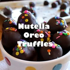 Nutella Oreo Truffles – classic Oreo truffles made even better by adding Nutella! Dipped in chocolate or rolled in sprinkles for an easy chocolate treat. - Dinners, Dishes, and Desserts - Candy Recipes, Sweet Recipes, Baking Recipes, Dessert Recipes, Dinner Recipes, Cookie Recipes, Quick Recipes, Nutella Recipes, Light Recipes