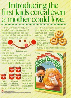 Cute 1980s Cabbage Patch Kids breakfast cereal. #vintage #1980s #food #nostalgia