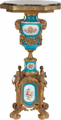 65024: A FRENCH SÈVRES-STYLE GILT BRONZE MOUNTED PEDEST : Lot 65024