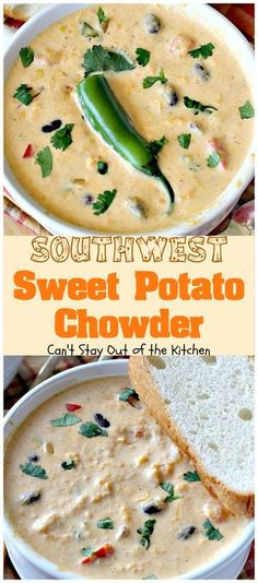 Southwest Sweet Potato Chowder - Can't Stay Out of the Kitchen Soup Recipes, Vegetarian Recipes, Cooking Recipes, Healthy Recipes, Seafood Recipes, Supper Recipes, Vegetarian Cooking, Party Recipes, Fun Cooking