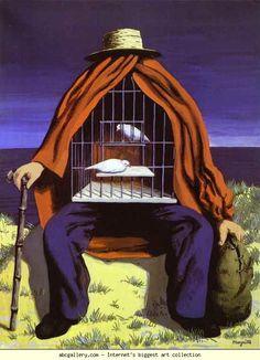 René Magritte. La Thérapeute.  1941. Gouache on paper. 47.6 x 31.3 cm. Private collection