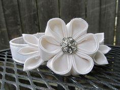 Dog Collar and Flower - MADE TO ORDER Wedding White Silk Kanzashi Flower with White cotton Collar