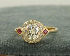 Everybody Loves Estate- XLIII: Estate Deco 18K 1.16 CT Diamond and Ruby Ring