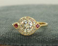 Everybody Loves Estate- XLIII: Estate Deco 18K 1.16 CT Diamond and Ruby Ring