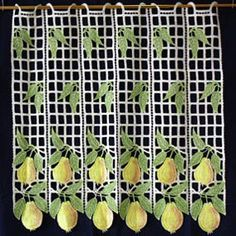 Macrame Lace Cafe Curtains Lace Valances, Macrame Rings, Kitchen Valances, Macrame Curtain, Curtain Lights, Lacemaking, Cafe Curtains, Green Lace, Fruit
