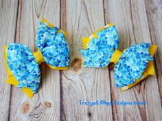 Girl Hair Bow-Blue and Yellow Hair Bow-Girl Accessories- Floral Print Bow by TretyakOlgaBows on Etsy