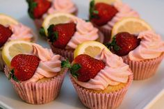 Strawberry lemonade cupcakes--made for my sister's birthday. Complicated, but quite possibly the best cupcakes I've ever had, bar none. Strawberry Lemon Cupcakes, Strawberry Desserts, Strawberry Lemonade, Pink Lemonade, Strawberry Fluff, Cupcake Recipes, Cupcake Cakes, Dessert Recipes, Cupcake Art