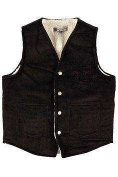 Eat Dust Clothing Sherpa Cord Vest Dark Brown : SUNSETSTAR