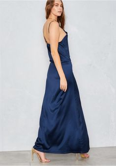 Petunia Navy Cami Thigh Split Maxi Dress Missy Empire