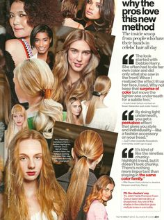 """Glamour Magazine, November 2012: """"...When I realized the effect lit up her face, I said Why not keep that surprise of color but move the lighter one underneath for a subtle feel."""" - #louislicari #hair #beauty"""
