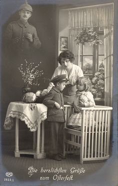 WWI German Photographic Easter Postcard  ....still at war...different generation