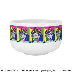 RETRO ROCKABILLY ART PRINT SOUP MUG