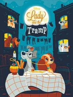 Lady & the Tramp by Dave Perillo for Mondo x Cyclops Print Works #Disney