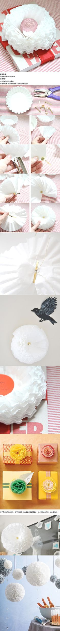 Great idea for decorating gifts (an more) with coffee filters or cupcake liners - maybe put a little dye on the edges?