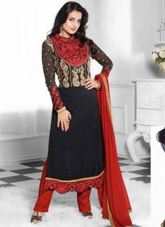 Amisha Patel In Black And Red Designer Churidar Suit http://www.angelnx.com/Salwar-Kameez/Bollywood-Salwar