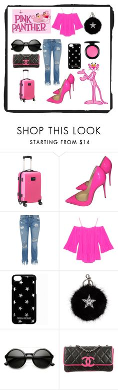 """""""Pink Panther"""" by ipekzsuel on Polyvore featuring Denco Sports Luggage, Christian Louboutin, 3x1, Jadicted, Zadig & Voltaire, STELLA McCARTNEY, ZeroUV, Chanel and MAC Cosmetics"""