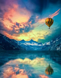 Mountain Balloon Sunset.  Repinned by An Angel's Touch, LLC, d/b/a WCF Commercial Green Cleaning Co., Denver's Property Cleaning Specialists. http://angelsgreencleaning.net