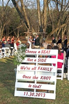 Rustic Wedding - November Wedding - Blended Family - Wedding Photos - North Carolina Wedding - Warrenton, NC - Magnolia Manor Plantation Bed & Breakfast -rustic wedding sign - choose a seat not a side we're all family once the knot is tied