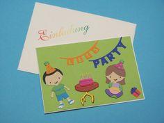 """Geburtstag - Einladungskarte Kindergeburtstag """" Let's Party """" - ein Designerstück von Wonderful-Paper-Art bei DaWanda"""