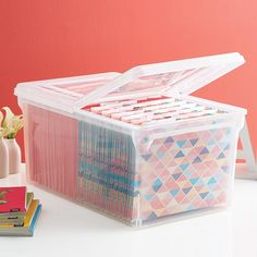 XLarge File Tote Box is part of File Organization Containers - 2 linear inches of lettersize hanging files (sold separately) space and a hinged, splitlid cover for easy access to the interior without removing the top Office Supply Organization, File Organization, Container Organization, Office Storage, Storage Bins, Organizing Ideas, Storage Ideas, Punch Storage, Organizing Papers