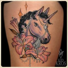 I'm not a huge unicorn fan but this may be the best unicorn tattoo I've ever seen!    Love the work of Kid Kros…  www.facebook.com/kidkros  instagram.com/kidkros
