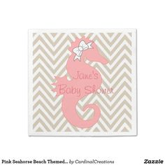 Pink Seahorse Beach Themed Baby Shower Napkins