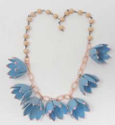 Vintage Celluloid Early Plastic Blue & Pink Bell Flower Charm Necklace #Unbranded