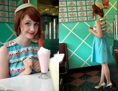 Jane Bennet - Emily And Fin Too Much Fun Dress In Beach, Vintage Shoes, Vintage Hat - Milkshakes