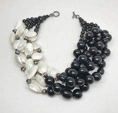 Gorgeous-Black-Beads-amp-Mother-of-Pearl-Necklace-In-The-Style-of-Angela-Caputi #handmadejewelry