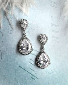 Vintage wedding earrings, 1920s earrings, Vintage bridal earrings, antique crystal earrings, drop earrings, pear shaped earrings - 'CAMILLE' on Etsy, $48.00
