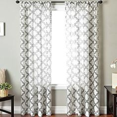 jcpenney Princeton Rod-Pocket Sheer Panel - home decor, drapery (allover jacquard pattern, blue and white, long curtains)