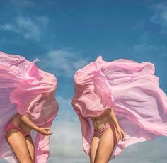 Art. Girls. Pink. Blue sky.