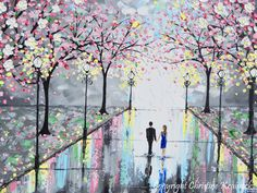 GICLEE PRINT Art Abstract Painting Couple Pink Cherry Trees Blossoms Romantic Canvas Prints Grey Wall Decor LARGE sizes to 60 -Christine - Christine Krainock Art - Contemporary Art by Christine - 1