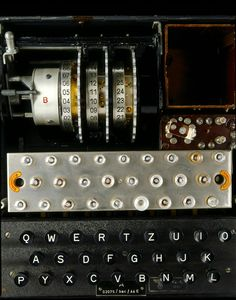 #ENIGMA Machine -- Originally designed to encode business communications, the Germans adapted the Enigma cipher machine for use in World War II. The machine linked a keyboard to a series of rotors using electric current. The rotors transposed each keystroke multiple times. The message was then sent in Morse code.