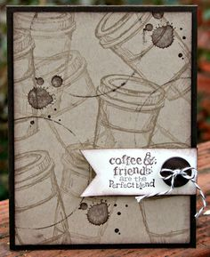 To create the coffee rings, I used the top of a buttons container from Stampin' Up! dipped in Chocolate Chip ink