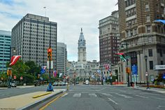 Benjamin Franklin Parkway; City Hall is in the center background.