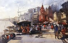 watercolour art of varanasi ghat painting, being an indian watercolour artist i have been always inspired from this holy town. Plese visit my online art gallery of watercolor painting to see more varanasi paintings. Famous Watercolor Artists, Watercolor Artwork, City Illustration, Dutch Painters, Varanasi, Indian Paintings, Winter Landscape, Winter Scenes, Ancient Art