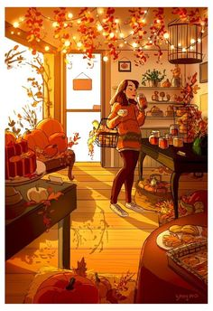 Warm morning light flooded into the room. The scent of cinnamon and pumpkin spice swirled around in the air, filling her with a warm fuzzy feeling. The rich colors of the leaves hanging from the ceiling reminded her of fall back home.