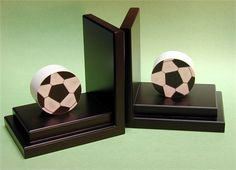 Soccer Bookends with Espresso Base #rosenberryrooms… other sports available too