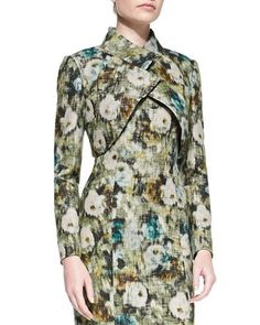 Long-Sleeve Crisscross Floral Bolero by Kay Unger New York at Neiman Marcus.