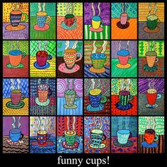 elementary art lesson 5th grade coffee cups tempera paint pattern color. Complex…